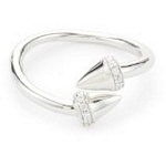Sterling Silver Bypass Spike Ring with CZ