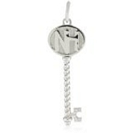 Sterling Silver 'NH' Initial Key Pendant with CZ, 16