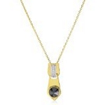 Sterling Silver with 18kt Gold Wash Pendant with CZ, 16