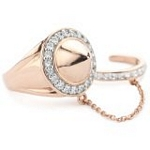 Silver with 18kt Gold Wash Ring with Chained Ring and CZ, 7