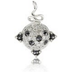 Sterling Silver Spiked Dome Snake Pendant with CZ, 16
