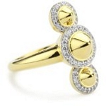 Sterling Silver Spike Ring with 18kt Gold Wash and CZ, 7