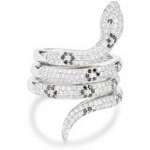 Sterling Silver Triple Row Snake Ring with CZ, Size 7