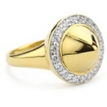Silver with 18kt Gold Wash Domed Spike Ring with CZ, 7