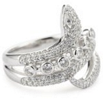 Sterling Silver Double Row Snake Ring with CZ, Size 7