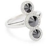 Sterling Silver Triple Stone Spike Ring with CZ Ring, 7