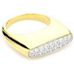 Sterling Silver Pave Ring with 18kt Gold Wash and CZ, 7