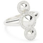 Sterling Silver Triple Spike Ring with CZ, Size 7