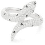 Sterling Silver Snake Ring with Black and White CZ, 7