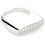 Sterling Silver Flat Top Pave Ring with CZ, Size 7
