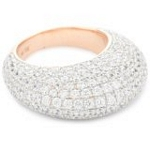 Silver Pave Dome Ring with 18kt Gold Wash and CZ, 7