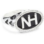 Sterling Silver Initial Ring with Enamel and CZ, Size 7