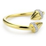 Sterling Silver with 18kt Gold Wash Spike Ring with CZ, 7