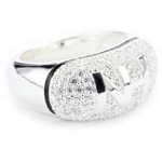 Sterling Silver Pave Initial Ring with CZ, Size 7