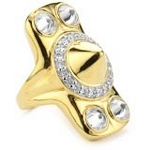 Sterling Silver with 18kt Gold Wash Spike Ring and CZ, 7