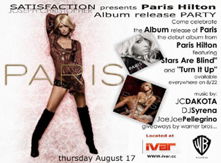 Satisfaction presents Paris Hilton Album Release Party